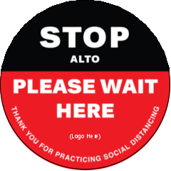 PERSONALISED SAFE SOCIAL DISTANCING SIGN STICKER WORK BUSINESS LOGO LARGE ROUND